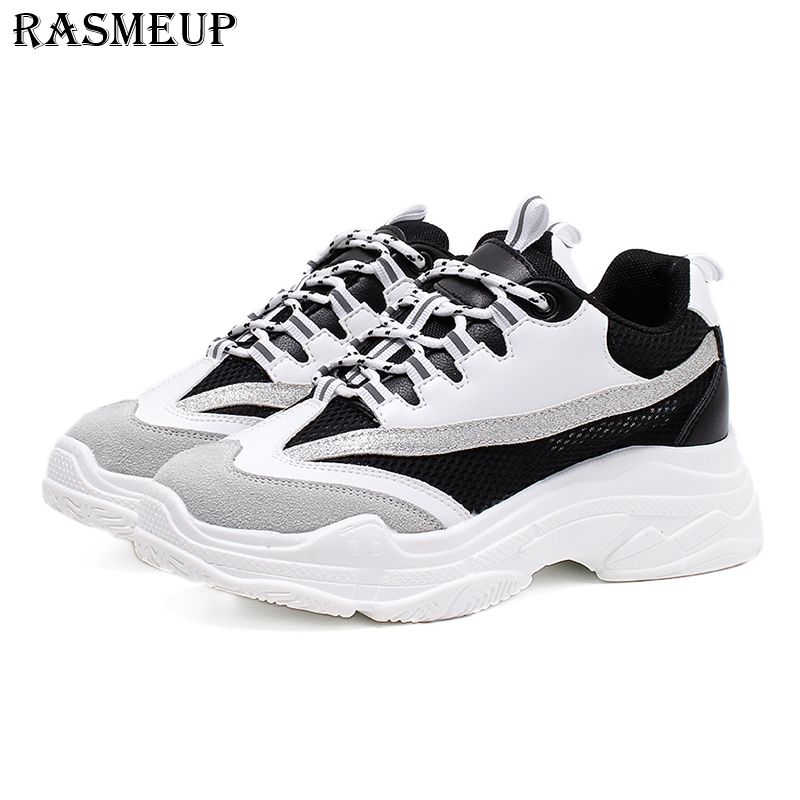 RASMEUP Genuine Leather + Air Mesh Women's Chunky Sneakers 2018 Fashion Summer Women Platform Shoes Woman Thick Soled Dad Shoes beffery summer shoes women genuine leather fashion casual white woman shoes platform thick bottom shoes woman sneakers