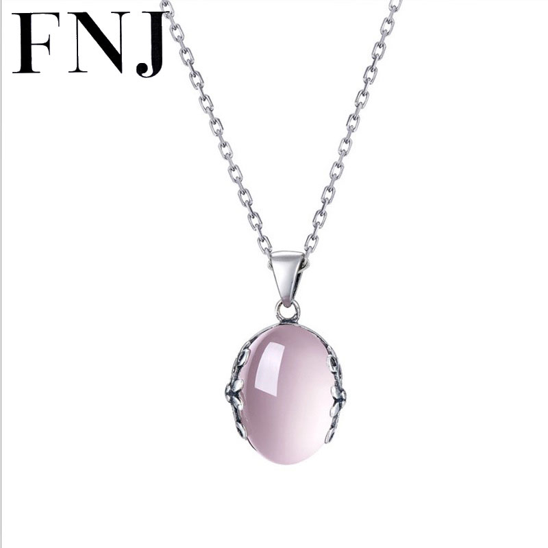 FNJ 925 Silver Round Pendant S925 Solid Thai Silver Natural Stone Pendants for Women Jewelry Making-in Pendants from Jewelry & Accessories    1
