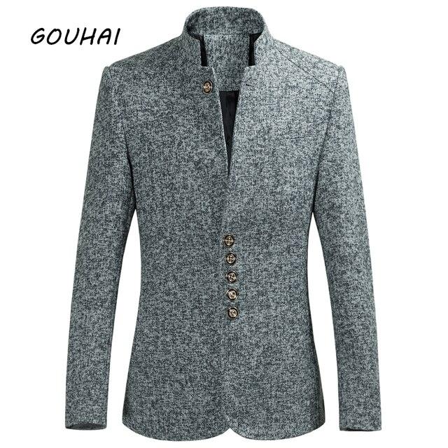 Invierno otoño Casual solo pecho sólido Slim Fit Blazer chaqueta hombres  traje grueso caliente Stand Collar 0fc75e723c8