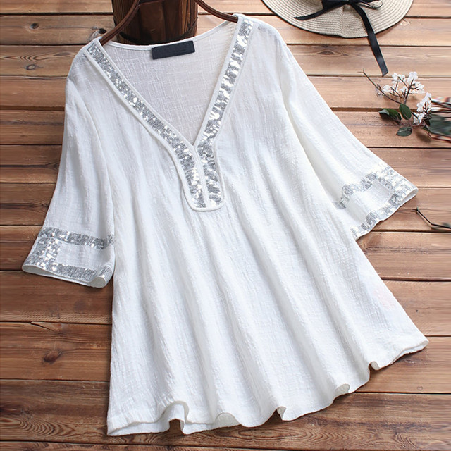 women blouses plus size elegant summer Women Ladies Sequins Patchwork Sexy Short Sleeve Shirt Pullover Tops tunic shirts