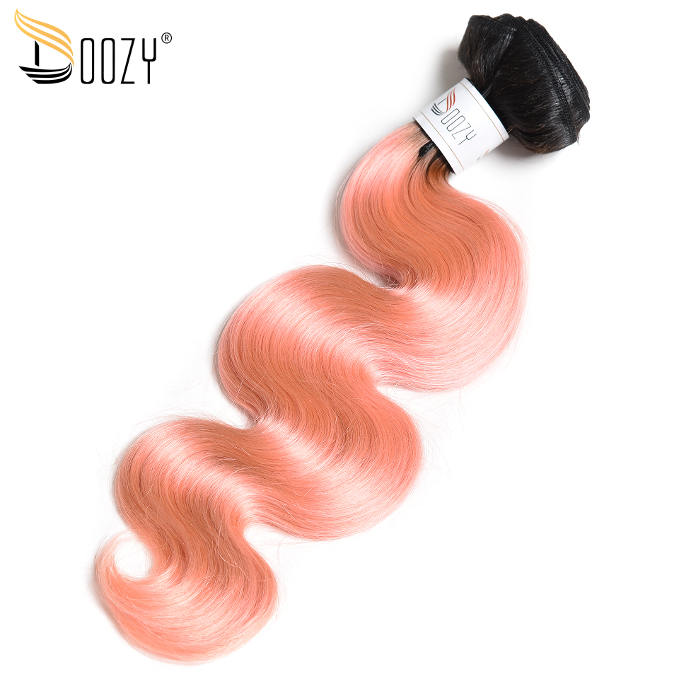 Doozy Ombre 1b/pink Human Hair Weaving Body Wave Hair Extensions Rose Gold Remy Brazilian Human Hair Bundles