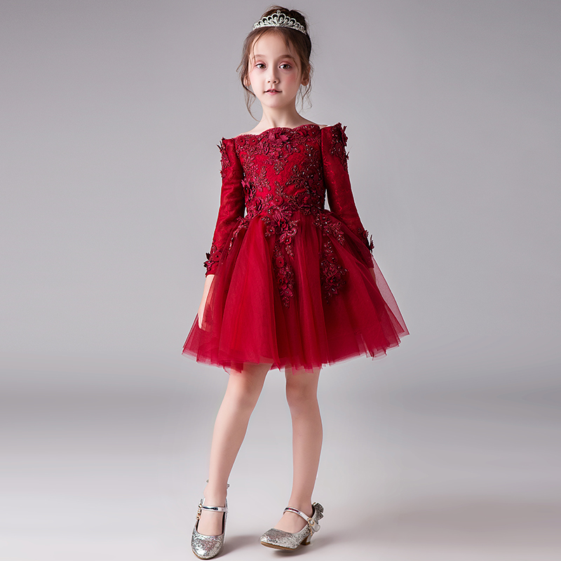 Flower ball gown dress red elegant long sleeve evening appliques mesh fairy dresses girl fall winter tutu clothing princess YY83Flower ball gown dress red elegant long sleeve evening appliques mesh fairy dresses girl fall winter tutu clothing princess YY83