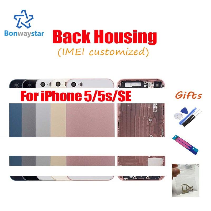 Metall Zurück abdeckung für iphone SE Moblie telefon teile Telefon chassis Zurück gehäuse für iphone 5s Bar hinten gehäuse + aufkleber und werkzeuge