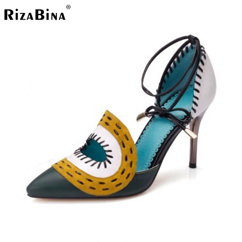 RizaBina free shipping quality genuine leather high heel sandals platform women fashion lady female shoes R4470 EUR size 34-39 coolcept free shipping genuine leather quality high heel wedge sandals women fashion platform heels sandal r4222 eur size 34 39