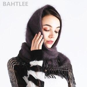 Image 2 - وشاح حجاب شتوي للسيدات من BAHTLEE بأشكال أنجورا وأرانب وعمامة شال ثلاثي الشكل محبوك من الفرو الحقيقي عباءة الرأس