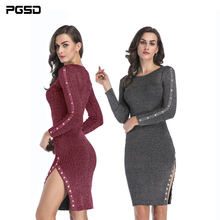 PGSD Autumn Winter Simple fashion Women Clothes Hem fork Button knitted dress Medium long buttock-wrapped woolen Dress female