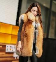 Best Selling Winter Ladies Luxury Red Fox Fur Vest Waistcoat Wholepiece Stand Collar Genuine Red Fox