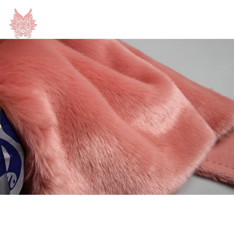 High plush density 2cm long hair pink faux fur fabric for winter coat,vest faux rabbit h ...