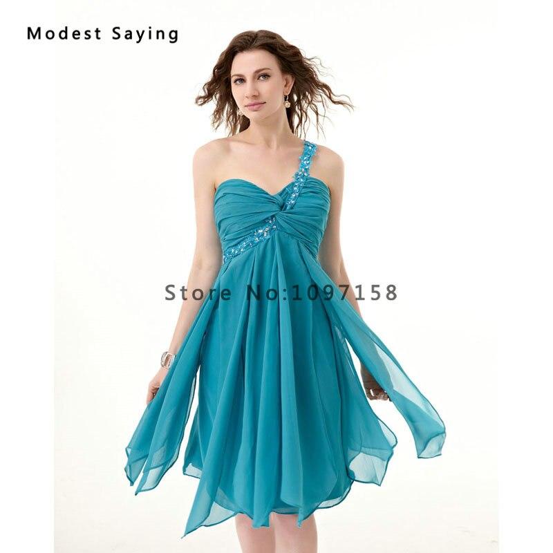 En gros pas cher en mousseline de soie courte robes de demoiselle d'honneur 2017 avec une épaule filles formelles Mini demoiselle d'honneur dentelle fête robes de bal - 3