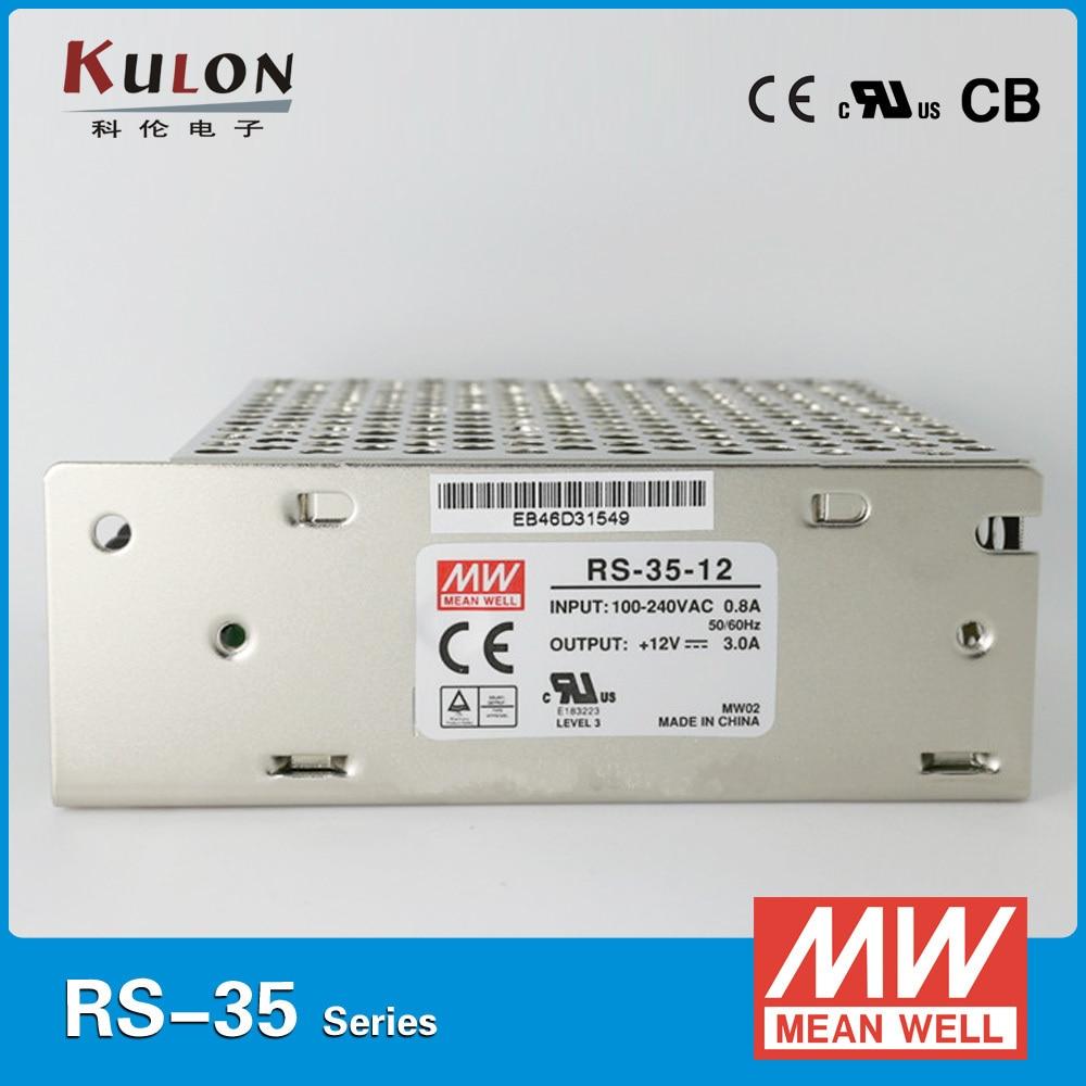 Meanwell RS-35 Single Output Power Supply 35W 3.3V/7A 5V/7A 12V/3A 15V/2.4A 24V/1.5A 48V/0.8A PSU smps meanwell eps 45 c single output psu ac dc enclosed power supply 35w 3 3v 5v 7 5v 12v 15v 24v 27v 36v 48v 8a 1a 3a mini size