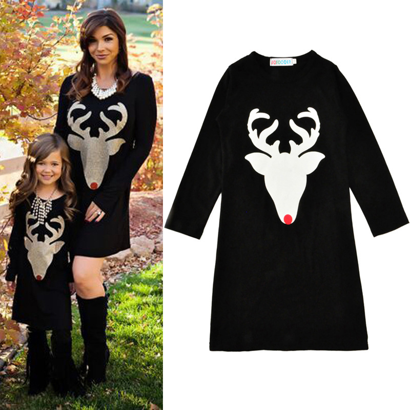 New Family Matching Outfits Cotton Deer Mother And Daughter Christmas Dresses 2017 Fashion Mommy And Me Family Look Clothing
