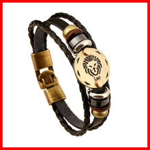 2019 Newest Zodiac Jewelry Fashion Leather Charm Bracelet Unisex Leo Bracelet