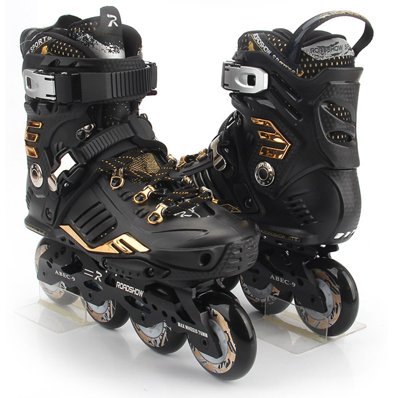 Roadshow RX6 Slalom Inline Skates Golden Adult Skating Shoes Black White 85A PU Wheels For Free Skating Sliding Street Skating adult s roller skates inline skating f2 2013 white and black flying eagle f2