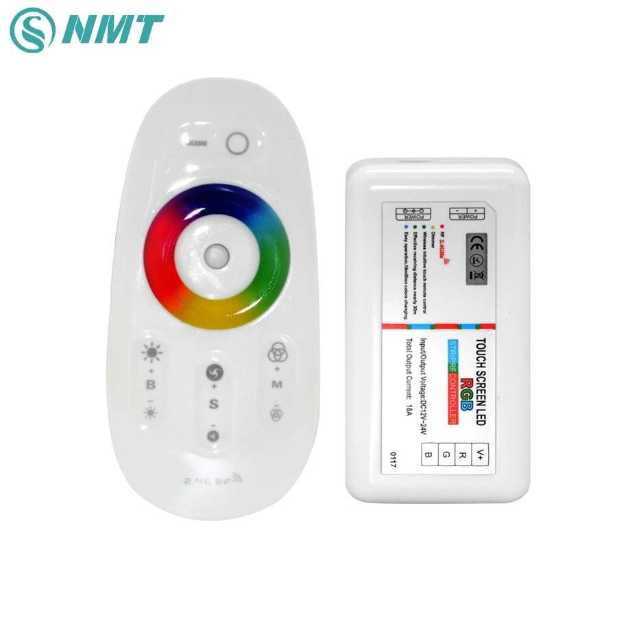 DC 12 V 24 V RGBW O RGB LED Controlador de 2.4G RF Pantalla Táctil 6A por Canal de Control remoto para smd 5050 3528 5630 led strip luz