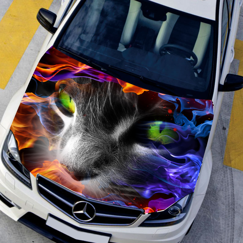 buy diy car styling hd inkjet in flames terror specter cat hood stickers. Black Bedroom Furniture Sets. Home Design Ideas