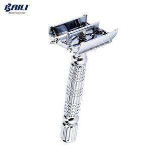 Image 3 - BAILI srebrne dla mężczyzn zestawy do golenia z podwójną krawędzią ręczne maszynki do golenia dla mężczyzn (1 maszynka do golenia + 1 pudełko na podróż + 1 uchwyt + 10 ostrzy) BD179J