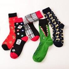 39-44 Носки Марка Женщины мужская Новинка Носки Хлопок Рождественский Подарок Chausettes homme Животных Головоломки Дизайн Смешно носки(China (Mainland))
