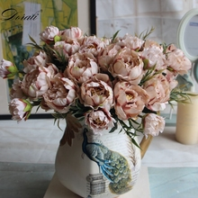 Shabby chic Bouquet European Pretty Bride Wedding Small Peony Silk Flowers Cheap Mini Fake for Home Decoration Indoor