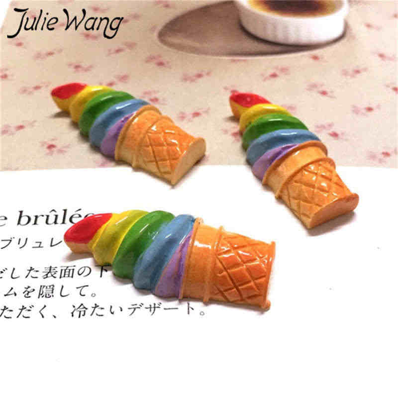 Julie Wang 10PCS Resin Flatback Ice Cream Slime Charms Artificial Food Pendant Jewelry Making Accessory Table Decoration Props