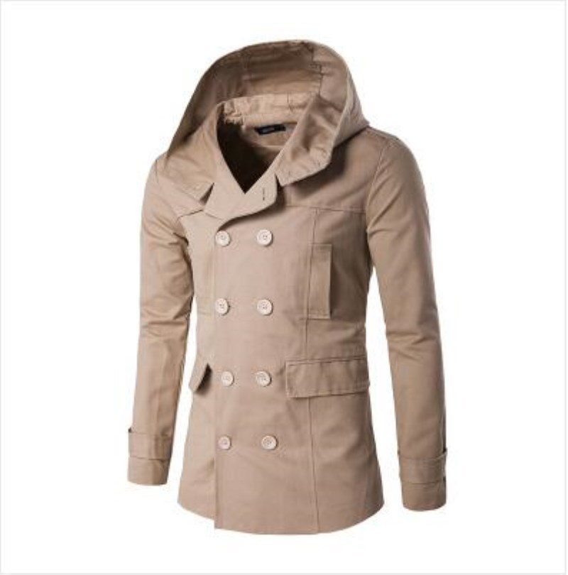 2017 Outono Inverno New Style Mens Trench Coat Moda Double Breasted Com Capuz Jaqueta Casaco Fino Trench Coat Para O Sexo Masculino F33
