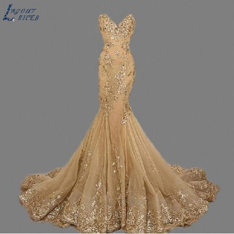 SQ208 robe de soiree Sweetheart Vintage Gold Mermaid Evening Dress vestido de festa Luxury Evening Gowns