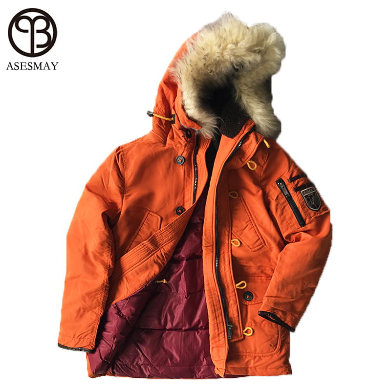 Asesmay Winter Jacket 2017 Brand Clothing Natural Fur High Quality Mens Jacket Thick Warm Hooded Coat Collar Parkas Hot Sale
