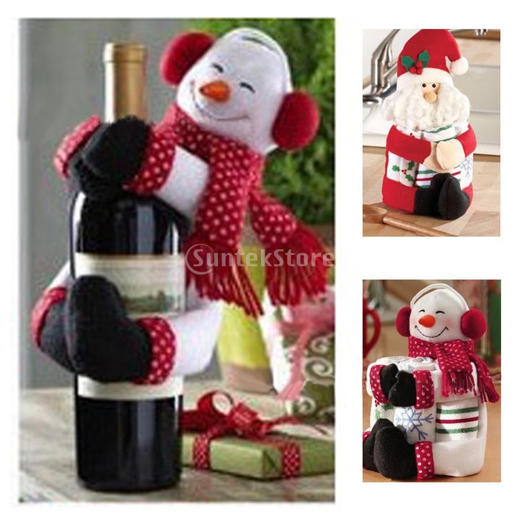 Cute santa claus towel christmas decor - Christmas Decorations Toy Snowman Santa Claus Wine Bottle Towel Holder Gift China Mainland
