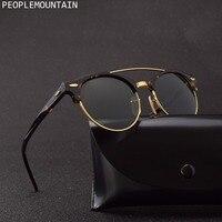 Top Quality Oval Acetate Frame Glass Lenses Men Sunglasses Classic Half Frame Design Driving Women Sun Glasses Oculos UV400 4346