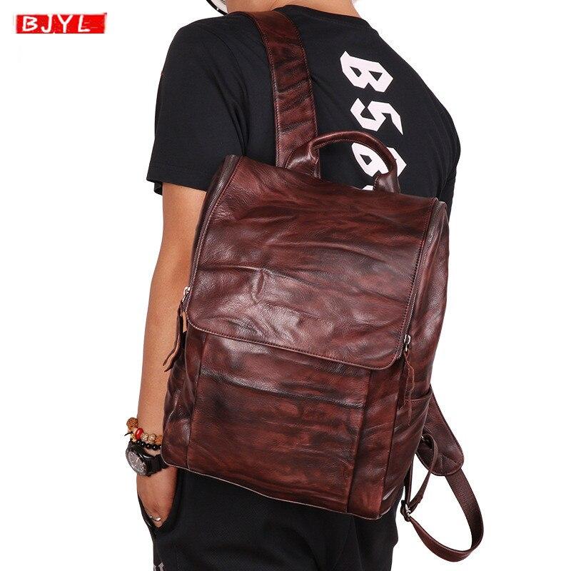 2019 New Outdoor leisure men's backpack vegetable tanned leather retro handmade shoulder bag vintage travel computer backpacks