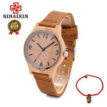 SIHAIXIN Bamboo Watch Women With Box Bayan Kol Saati Genuine Leather Female Wooden Watches Quartz Minimalist Lady Frees Shipping