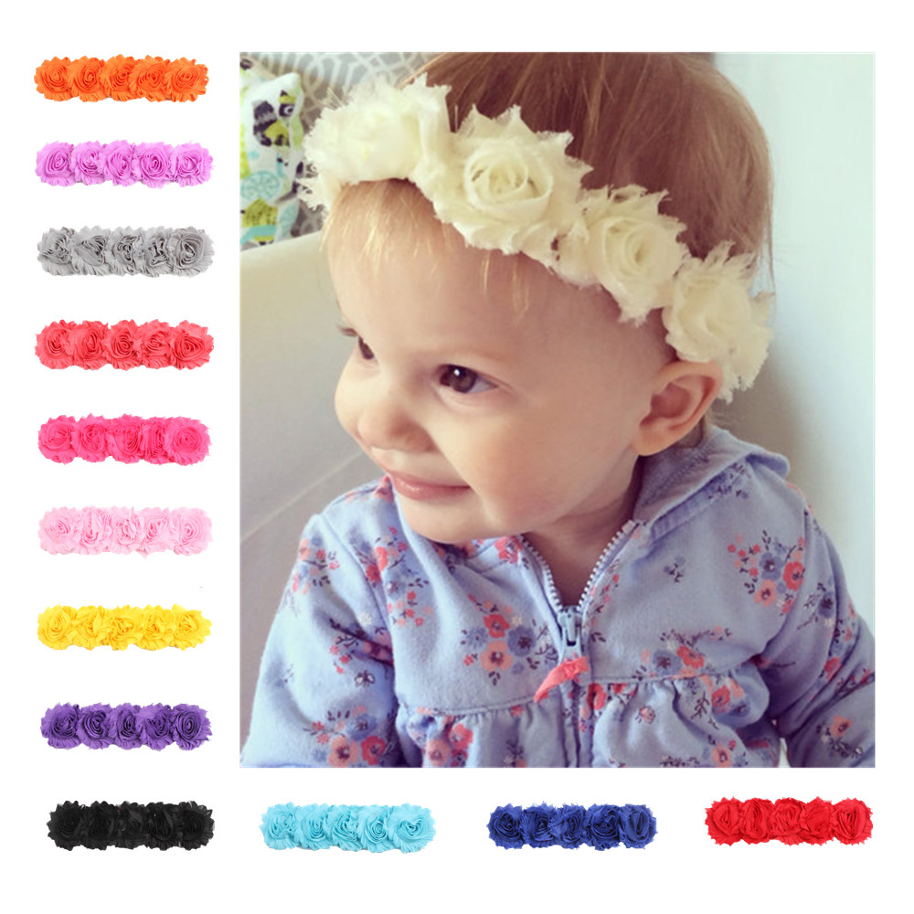 Newborn Baby Girls Toddler Elastic Cute Solid Color Flower Headbands Fashion Headcloth Infant   Headwears   Hair Decoration