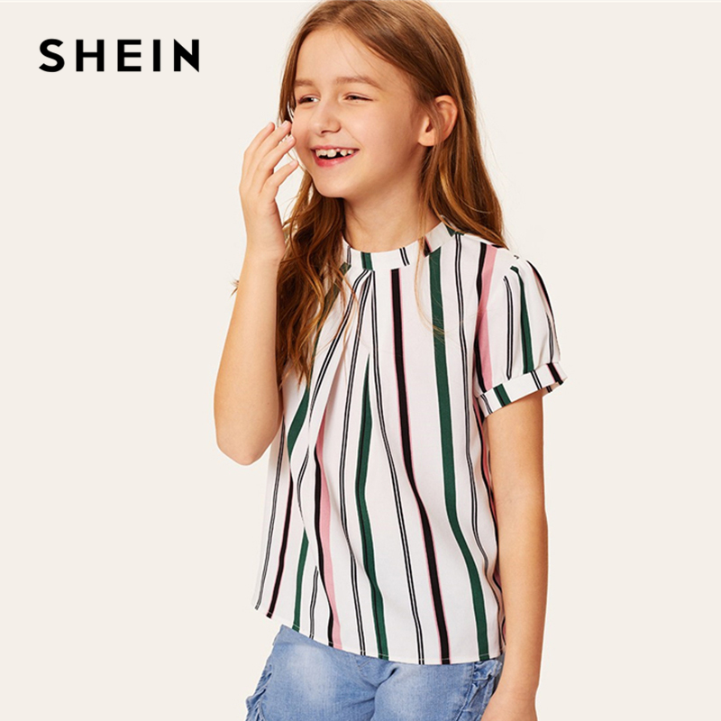 Фото - SHEIN Kiddie Girls Fold Pleated Front Striped Casual Blouse Teenager Tops 2019 Summer Roll Up Sleeve Button Back Blouse Shirts plus open front vertical striped kimono