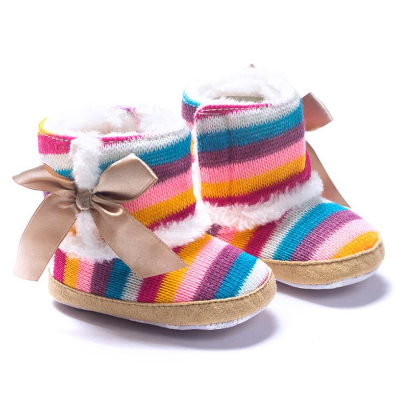 Baby font b Boots b font 2017 Fashion Baby Girl Rainbow Soft Sole Snow font b