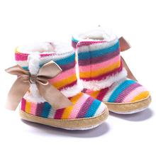 Baby Boots 2017 Fashion Baby Girl Rainbow Soft Sole Snow Boots Soft Crib Shoes Toddler Boots D50