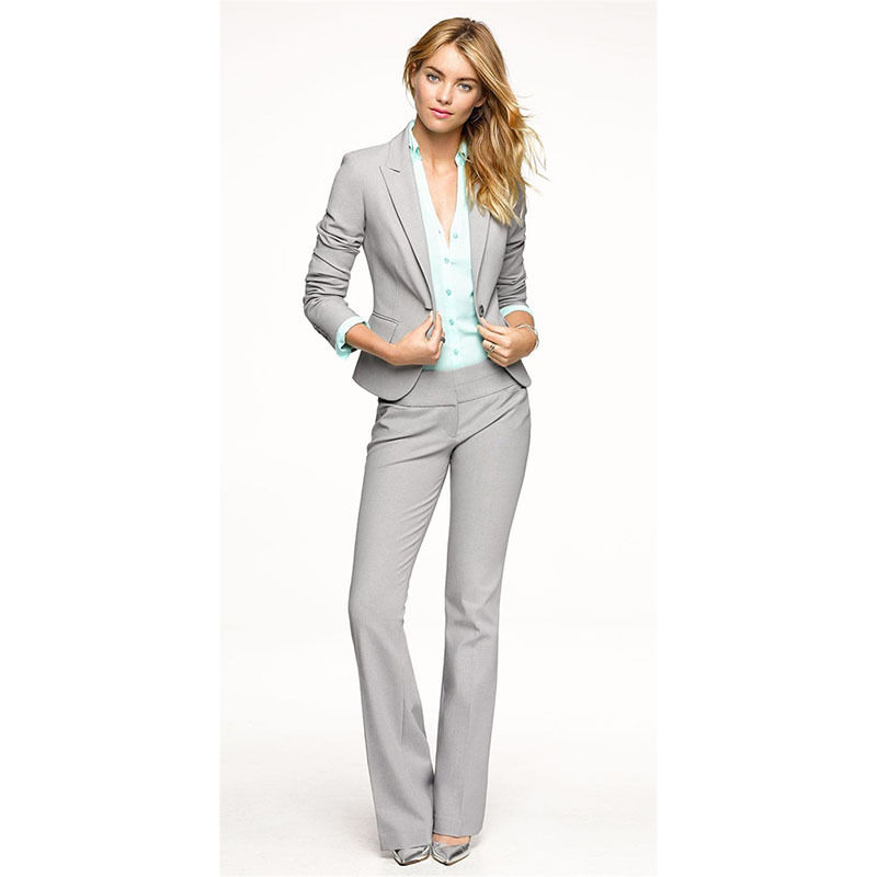 New Arrival Light Gray Tailored Suits Womens Designer Formal Ladies Business Suit Custom Made B40