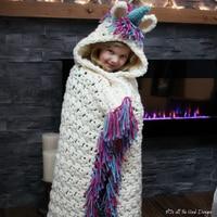 Unicorn Children Blanket Handmade Crochet In Cap Throw Blanket Colorful Kids Super Soft Hooded Blankets Travel Shawl