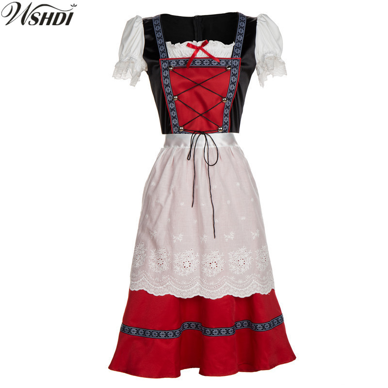 Womens German Beer Girl Costume Fraulein Dirndl Fancy Dress Oktoberfest Costume Adult Ladies Halloween Costume