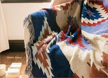 Cotton Geometric Pattern Tassel Sofa Blanket