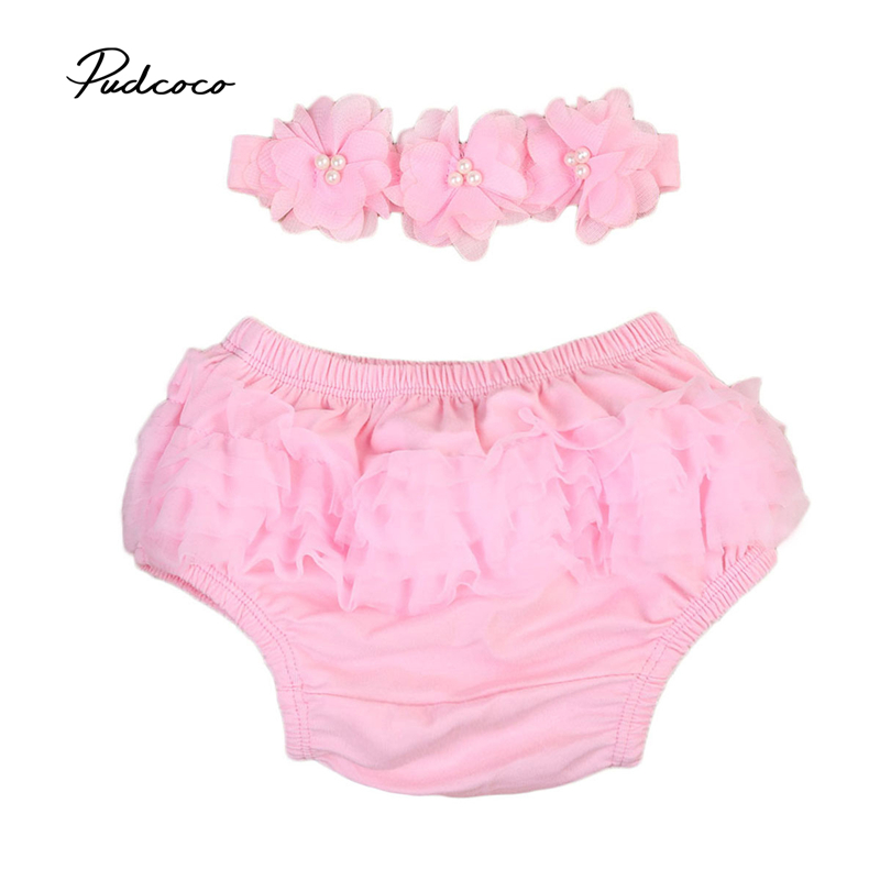 0-24 M Leuke Meisje Kant Ruche Luier Pp Broek Skorts Tutu Bloeier Bottoms Shorts + Hoofdband Baby Kleding