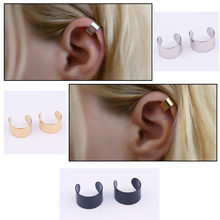 2pcs Stainless Steel Smooth Wide No Piercing Cartilage Cuff Upper Ear Cuff Wrap Earring Non Pierced Fake Conch Piercing(China)