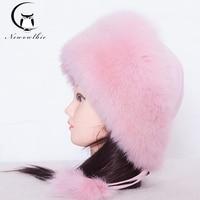 Winter Cap Women 2019 Luxury Warm Fur Hat Real Fox Fur Hats Women's Beret Whole Fur Hats Necessary Hat Pink