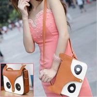 Wholesale 5*AUAU Girls Brown Pu Leather Retro Owl Fox Bag Messenger Crossbody Handbag