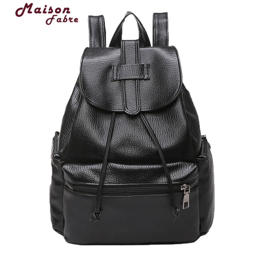 Fashion Leather Casual Womens Backpacks Brief Casual Knapsack Laptop Bag Ladies Pocket Girl Schoolbag Mochila Feminina 10#23