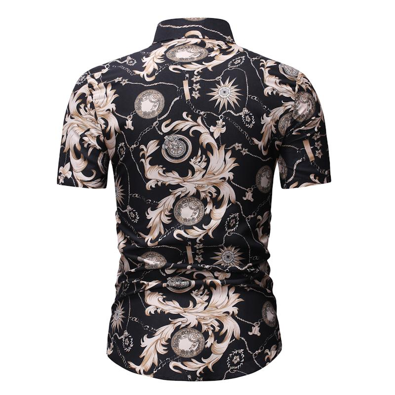Hawaiian Shirt Men Casual Short sleeved Slim fit Fashion Flower Shirt Floral Blouse Men Black in Casual Shirts from Men 39 s Clothing