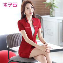 Wear short sleeved suit new Slim hit the color collar non iron suit suits summer clothes