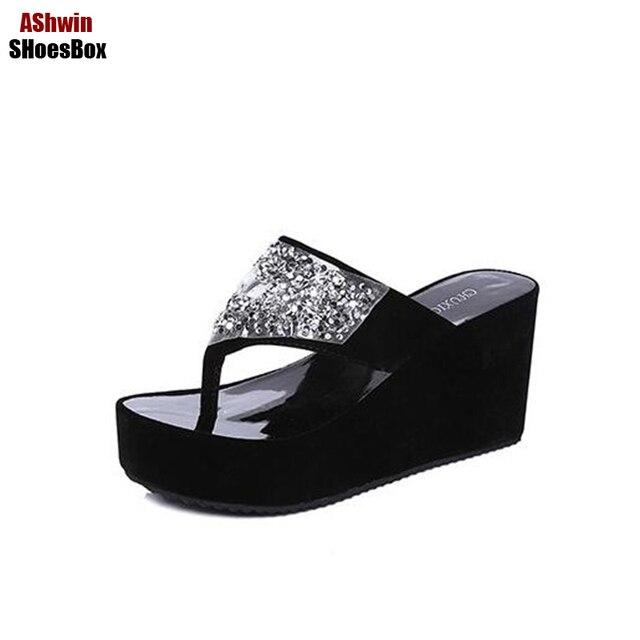 3c717dfaa59 women sandals sequins thong slippers slides wedge platform crystal shiny flip  flops sandals woman comfort heel beach shoes pumps