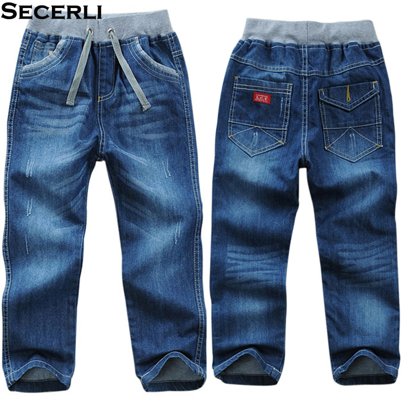 Cotton Kids Boys Pants Trousers 2 To 14 Y Children Boys Jeans Pants Kids Denim Pants Spring Autumn Casual Elastic Waist Pants pocket side elastic waist pants