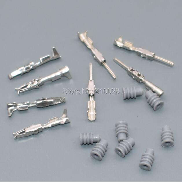 Shhworldsea 25 set = 100 stks 1.5mm mannelijke vrouwelijke seals Crimp terminal Connectoren voor Auto terminals voor VW audi, 17-20 AWG, 0.5 ~ 1 mm2