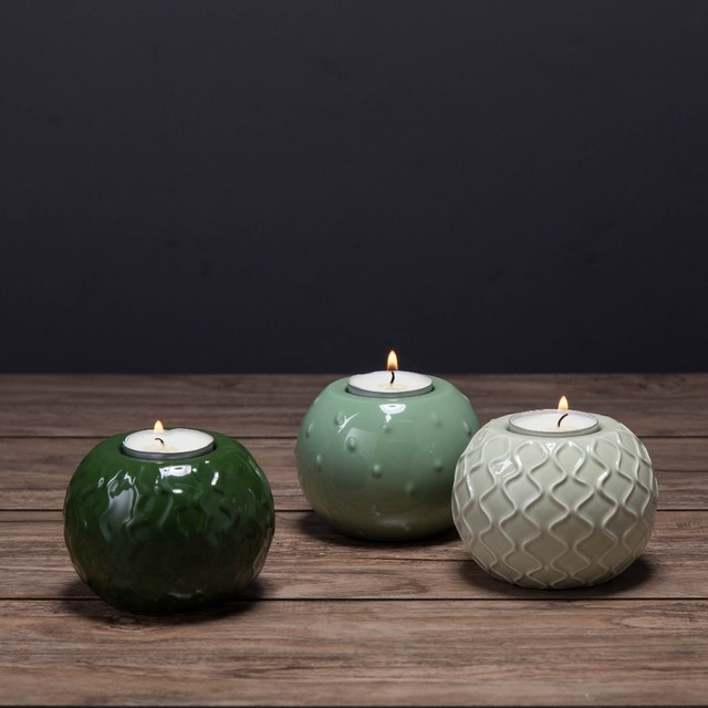 Cactus Green Round Tabletop Candle Stand Ceramic Candle Holder Matching  Small Tealight Candle Home Wedding Decoration