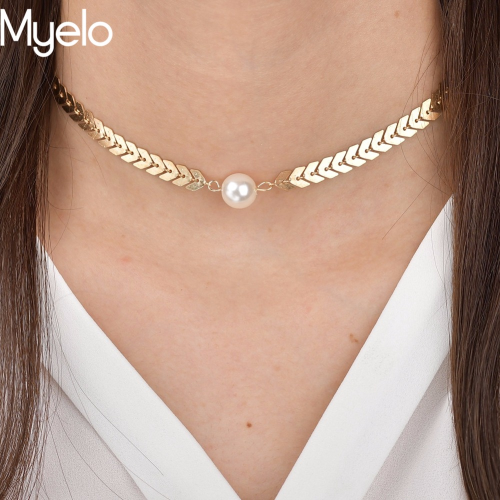 Myelo New Design Collar Herringbone Snake Chain Round Simulated-Pearl Gold Silver Color statement choker necklace For Girl Gifts
